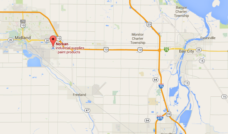 Map to Norkan Inc. in Midland, Michigan